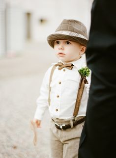 Boys attire for boho/country field wedding suspenders and paperboy hats