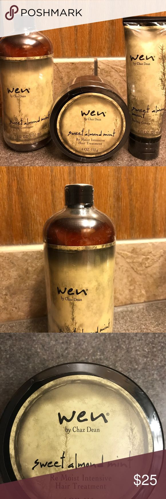 WEN hair care set Cleansing Conditioner and Sweet Almond Mint Re-Moist Intensive Hair Treatment and Styling Creme Wen Other