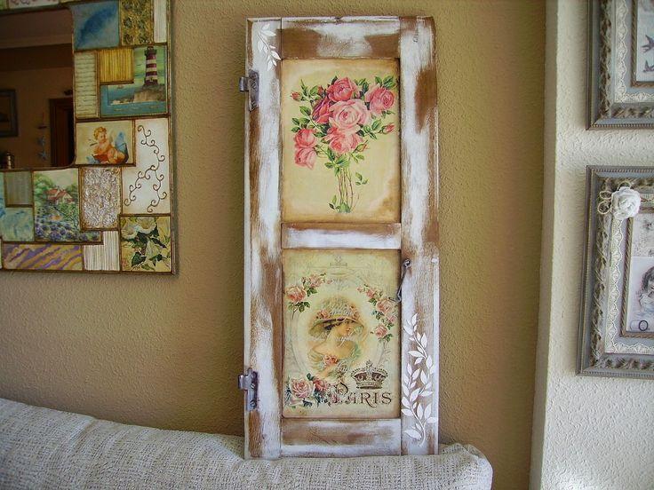 Retazos de madera contraventanas pinterest muebles for Decoracion con puertas antiguas