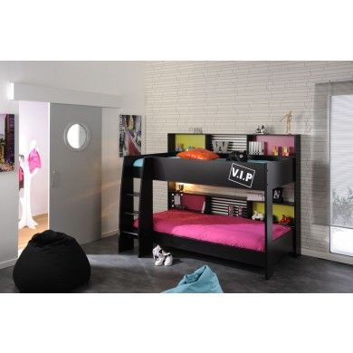 The High Tek 5 bunk beds are a modern styled gloss black bunk with cool pattern and handy shelving on top and bottom bunks.