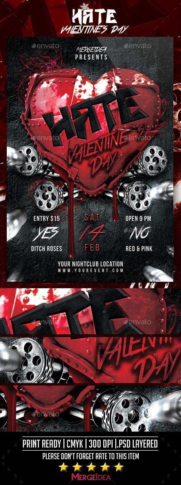 Hate Valentines Day Party Flyer - Clubs & Parties Events