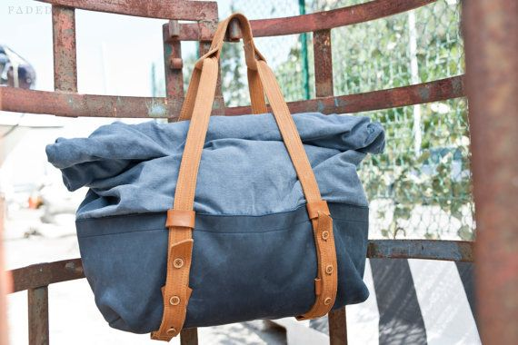 Weekender/Rucksack Weeksack in Twill & Leather TOP by FADEDBRAND