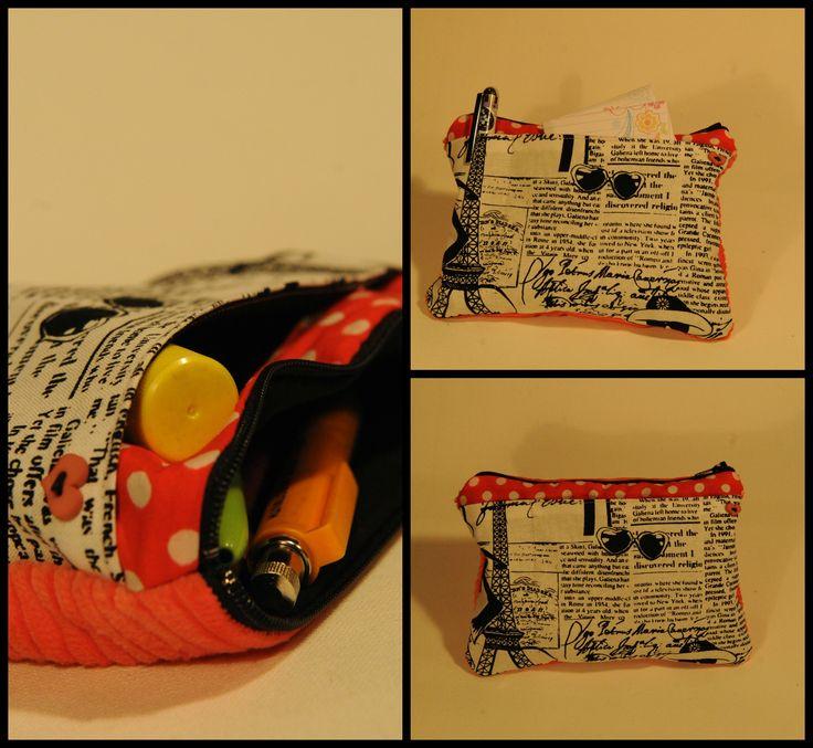 Polka dot & french newspaper front pocket. Melon corduroy back, black lining