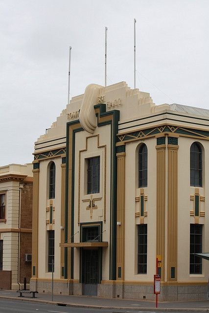 Australia - Adelaide    Hindmarsh Town Hall Theatre/hall by Hindmarsh Council. Art Deco Style  No. 2 Milner Street, Hindmarsh, SA .  Designed 1936.    First district hall constructed in 1860. Architect Thomas Frost designed a new hall behind the first in 1880. In 1936 all the buildings were refaced in Art Deco style designed by Christopher (Chris) Arthur  Smith.