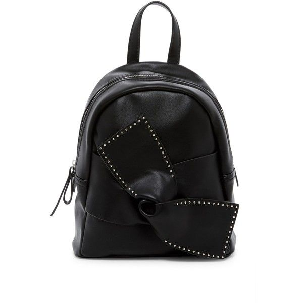 Jessica Simpson Kandiss Studded Bow Mini Backpack ($40) ❤ liked on Polyvore featuring bags, backpacks, npblk, studded backpacks, strap backpack, faux leather mini backpack, zip backpack and vegan leather backpack