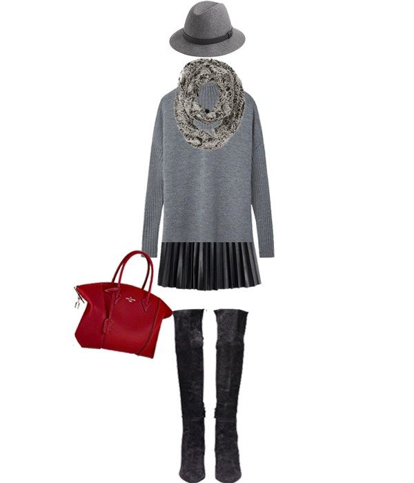 J.Crew Classic Felt Hat With Leather Band + Loft Faux-Fur Infinity Scarf + Tory Burch Merino Oversized Mockneck Tunic + J.Crew Faux-Leather Pleated Mini Skirt + Cole Haan Marina Suede Boots + Louis Vuitton Lockit