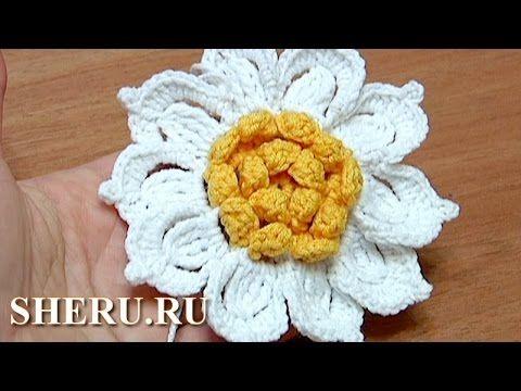 Вязание цветка с желтой серединкой Урок 31 Как связать цветок крючком