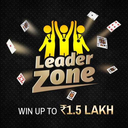 This is where the Leaders of the Game Hangout! Play more and accumulate points to lead the 'Leader Zone'  leaderboard contest and win cash prizes worth Rs.1,50,000. Start Playing! #Rummy