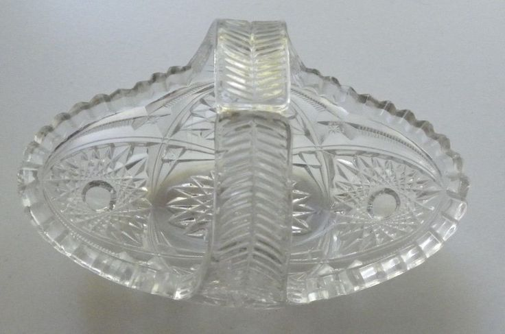 DAINTY BASKET EMBOSSED DIAMOND CUT PRESSED GLASS CRYSTAL FLUTED RIM CANDY   #Unbranded