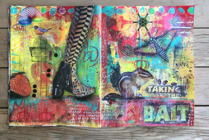 Taking the Bait mixed media journal spread by Chasity Heck.
