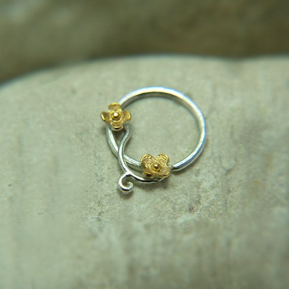 Flower Nose Ring gold nose ring18K sterling by PicoNosePiercing