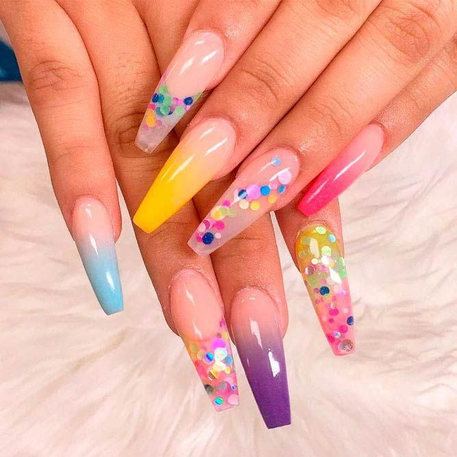 rainbow ombre nail art #colorfulnails