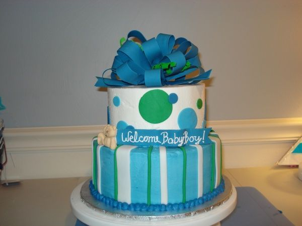 Baby Boy - Given free reign to design a cake for baby shower - only request was it was 'boy'ish.   In my head, this was going to be light blue and chocolate.. funny how things rarely turn out how I picture them.  Many thanks to CC members for inspiration.   BC iced, with fondant accents.