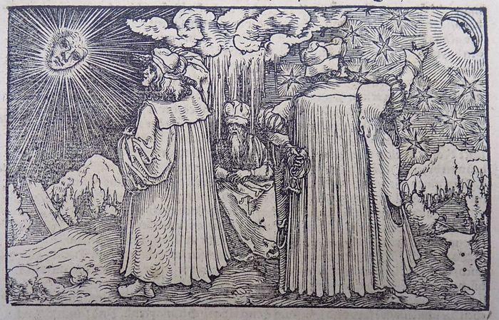 Master of Petrach [Hans Weiditz 1495-1537] - astronomie. Astrologie. Astronomen. -1544  Originele houtsnede blad30 x 199Weiditz was niet alleen de meest veelzijdige maar de drukste van de illustratoren van zijn tijd... en een van de kleine groep van uitstaande houtsnede ontwerpers van de Duitse Renaissance met een sterk geïndividualiseerde stijl en een meest persoonlijke kijk op het leven.Meer dan om het even welk van zijn kameraden wist hij hoe te breken van de oppervlakken van zijn blokken…