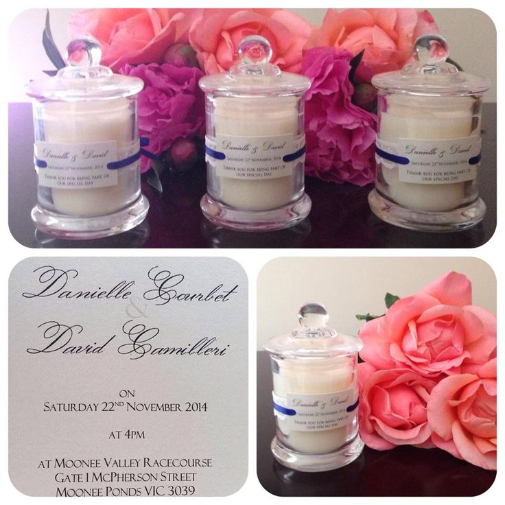 Soy Candle Bomboniere for the Wedding of  Danielle and David