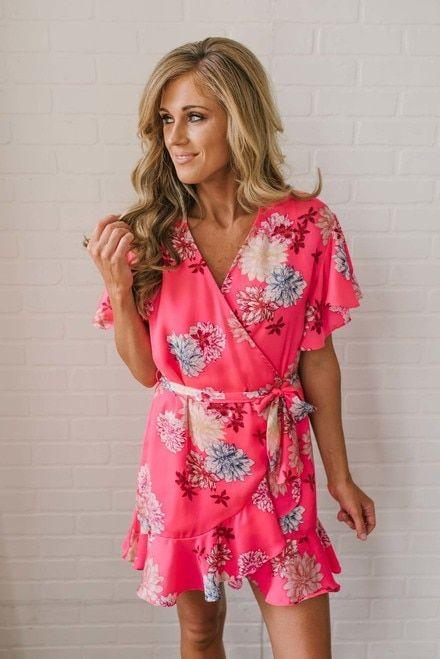 709f3dd1051 BB Dakota Kirsten Floral Wrap Dress - Pink Multi
