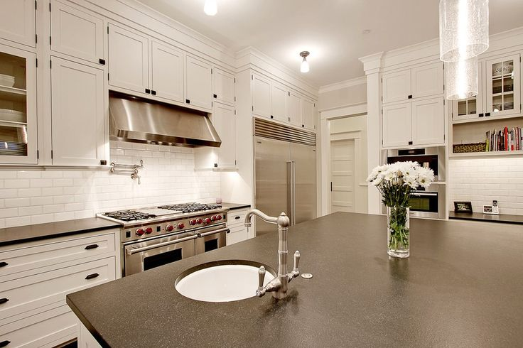 Ambrosia White Granite Kitchen Traditional with Farm Sink Coil Gas and Electric Ranges