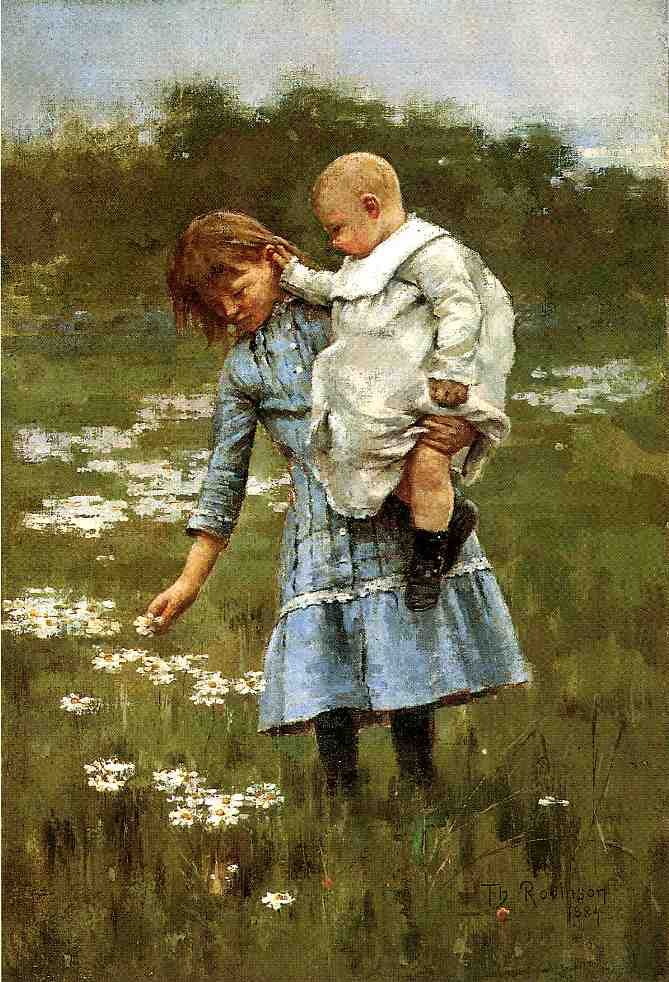Theodore Robinson (American, 1852-1896), [Old Lyme Colony, Impressionism] In a Daisy Field, 1884.