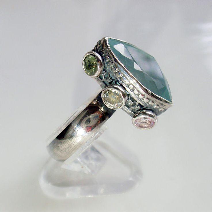 """Кольцо """"Entity"""". Аквамарин, сапфиры, серебро. - голубой, кольцо с аквамарином,"""