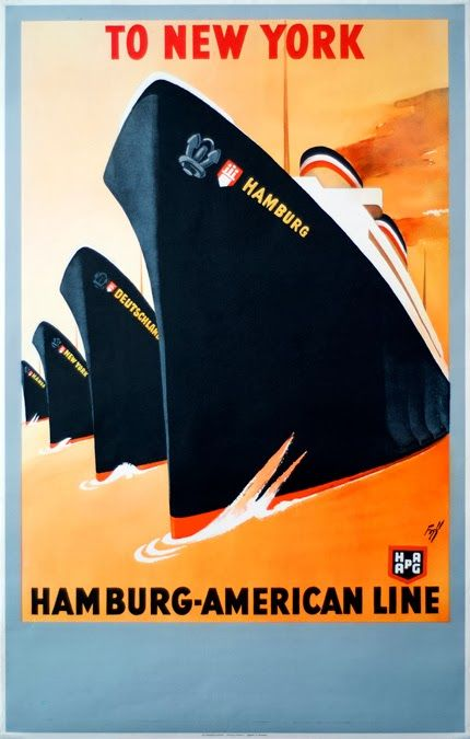 New York, Hamburg American Line - Vintage Travel Poster