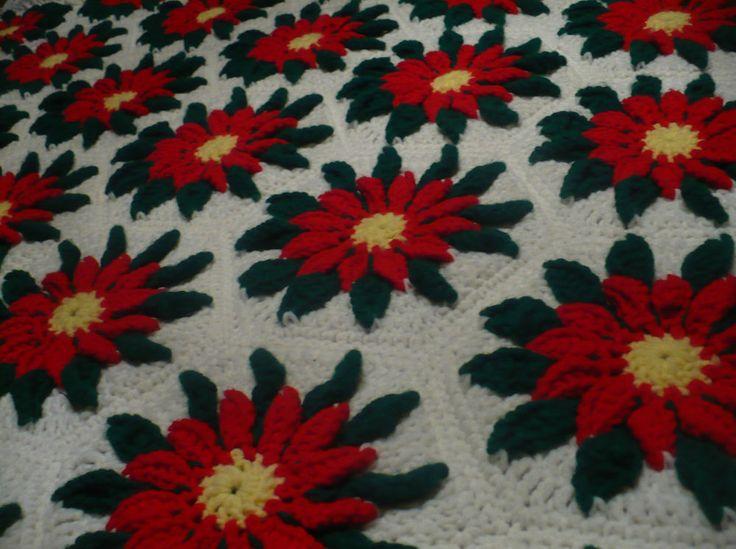 Vtg Christmas Handmade Crochet Granny Square Afghan Red