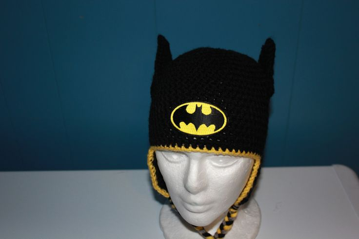 Crochet Batman Hat - Crochet Superhero Hat - Halloween Hat - Costume - Newborn Photo Prop - Bat Man - Baby Hat - Child Batman Hat