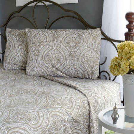 Brinley Home Abby 4pc Microfiber Paisley Sheet Set, Blue