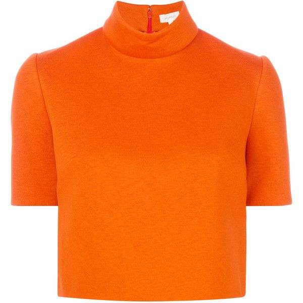 Delpozo rear zip cropped top (£519) ❤ liked on Polyvore featuring tops, orange top, delpozo, cut-out crop tops, zipper back top and orange crop top