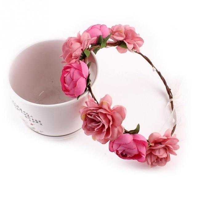 Women Girl BOHO Pink flower Fairy Wedding bride Party Hair Headband Prop Garland