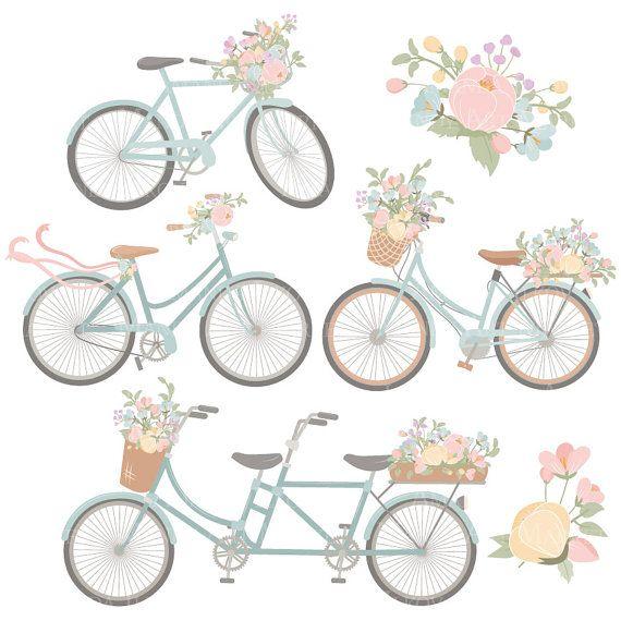 Emma Floral Bicycle Clipart & Vectors in Grandmas por AmandaIlkov