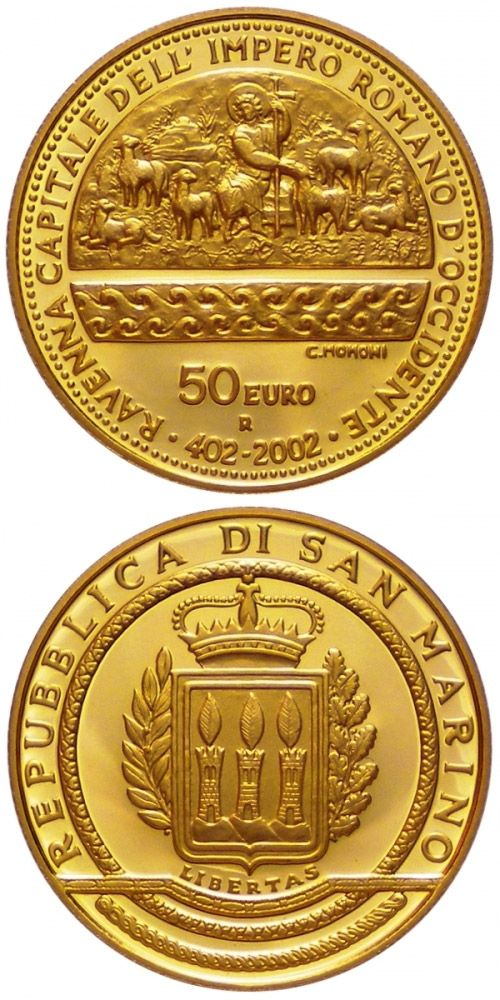 N♡T.50 euro: 1600th Anniversary of the Proclamation of Ravenna as Capital of the Western Roman Empire.Country: San Marino Mintage year:	2002 Face value:	50 euro Diameter:	28.00 mm Weight:	16.13 g Alloy:	Gold Quality:	Proof Mintage:	4,550 pc proof