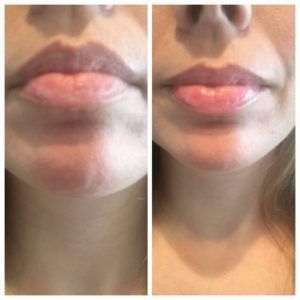 Dior Addict Lip Glow - before and after, close up
