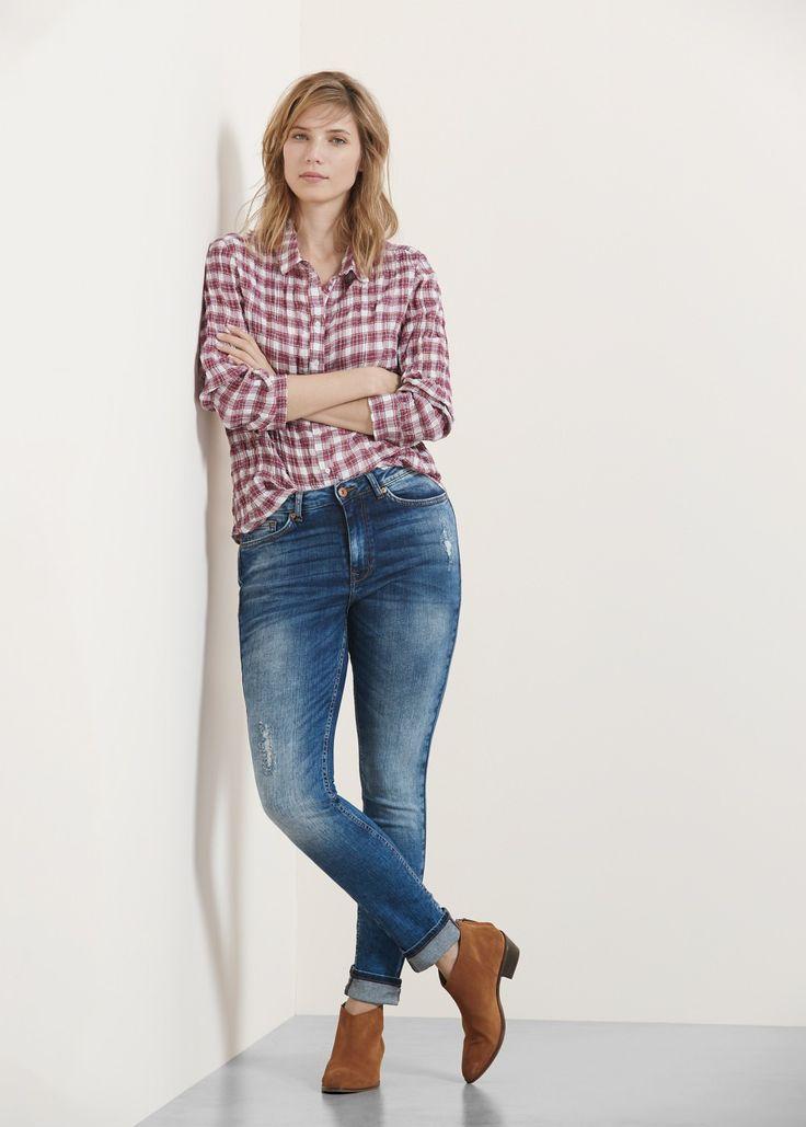 Textured check shirt - Shirts Plus size | VIOLETA BY MANGO