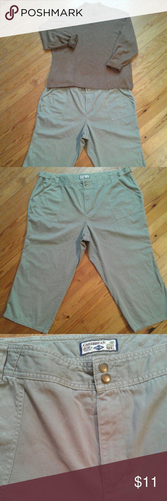 PLUS SIZE  Caribbean Joe Khaki  Green Capri Pants Plus Size Caribbean Joe Khaki  Green Capri Pants . 100% cotton, 2 front & 2 back pockets. Size 20W. Good condition. Sold as is. Caribbean Joe  Pants