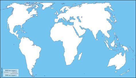 Planisphère centré Europe Afrique : carte géographique gratuite, carte géographique muette gratuite, carte vierge gratuite, fond de carte gratuit : littoraux
