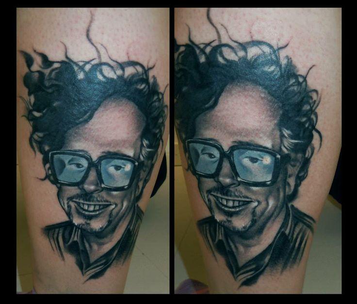 Tim Burton tattoo on calf