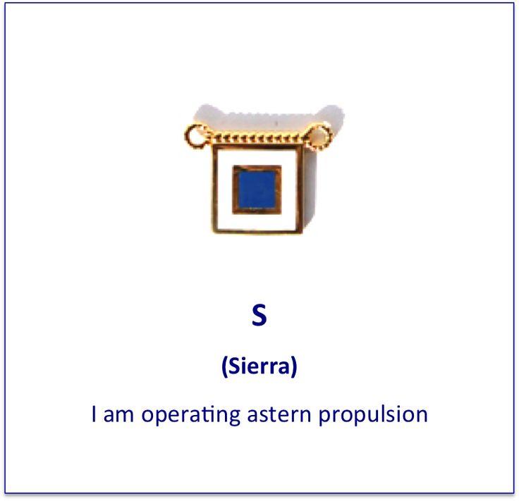 S (Sierra) signal flag charm