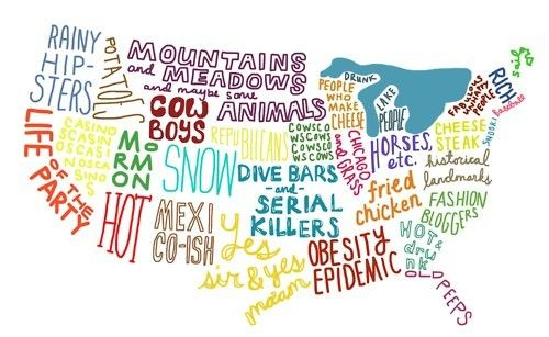 hahah this is hilarious!: Hipster, Fries Chicken, Maps, Parties, Serial Killers, Lakes, Fashion Bloggers, U.S. States, United States