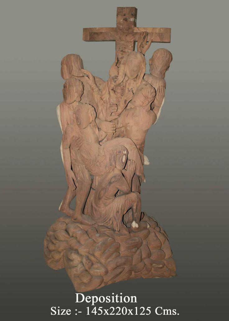 Neeraj Gupta wooden Sculpture: - Deposition  Created by : Neeraj Gupta Medium:- wooden sculpture Size:- 145x220x125cms Price on Demand