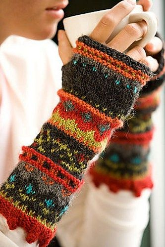 Knitting pattern for Composed Fingerless Mitts with stranded colorwork that uses at least six colors of yarn