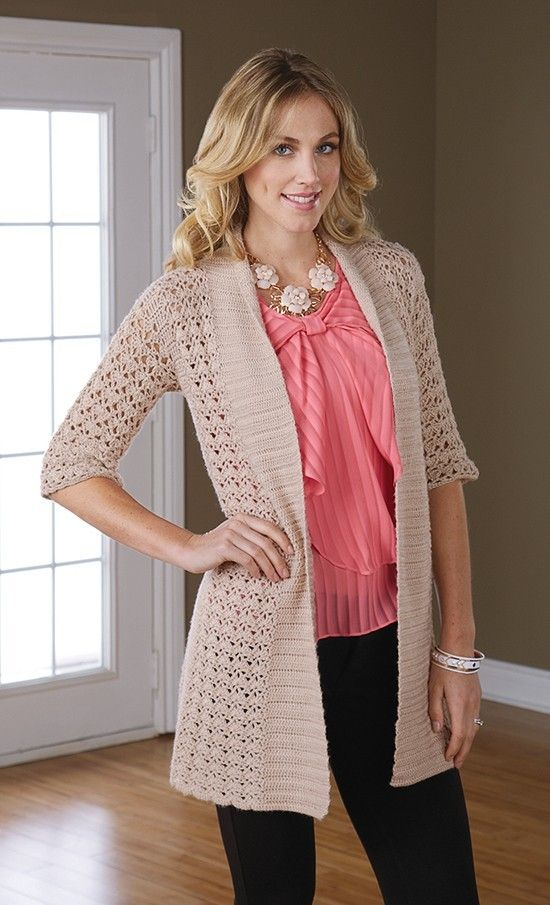 Crochet this lovely open jacket made in lacy shell stitch.