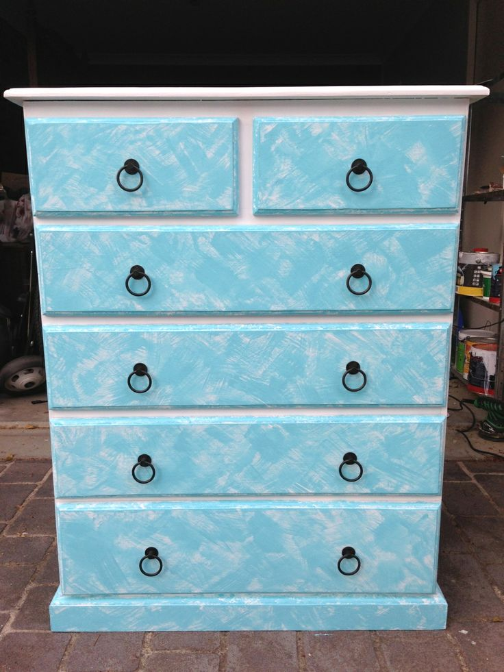 Beachy tallboy in blue and white. Painted furniture.