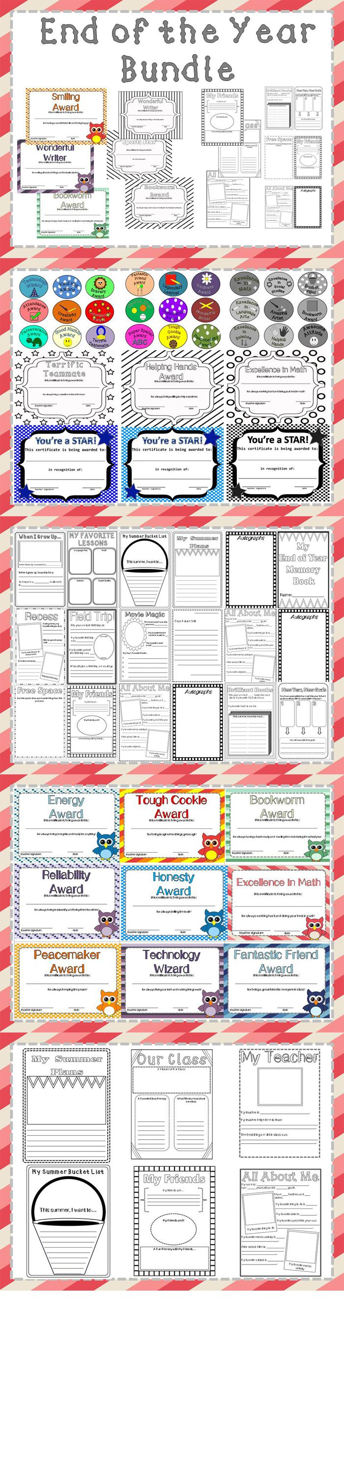 Specially discounted for the last few weeks of school, this bundle has plenty of easy-to-use items. Help your students remember all of the fun they had this year with a memory book that they can color! Student award are also available in this product in three different forms: editable, owl-themed, and black and white so students can color them.   This bundle contains: +Student memory booklet that students can color +Student memory packet that students can color +Editable student awards…
