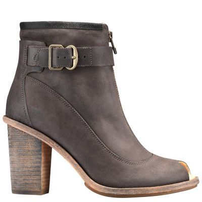 Women's Timberland Boot Company Marge Buckle Peep-Toe Boots Charcoal Full-Grain