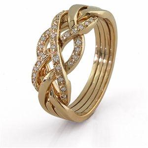 4 Band Diamond Puzzle Ring 4WGDL $657