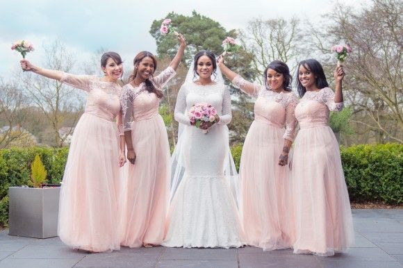 A Bespoke Dress for a Wedding of Two Halves at The Mere. Bridesmaids wearing pale pink dresses. Image by Jack Knight Photography. Read more: http://bridesupnorth.com/2016/06/13/culture-class-a-bespoke-dress-for-a-wedding-of-two-halves-at-the-mere-cheshire-khadiga-ahmed/