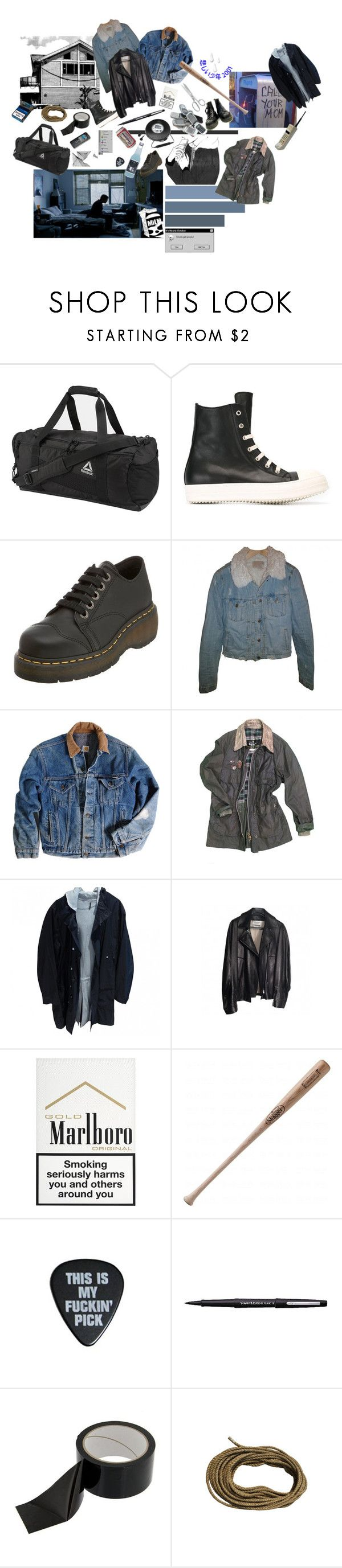 """𝐀𝐊𝐄𝐍𝐎"" by xxzodiacentertainmentxx ❤ liked on Polyvore featuring Reebok, Rick Owens, Dr. Martens, Carhartt, Vintage, Christian Dior, Yves Saint Laurent, Nokia, Sony and Louisville Slugger"