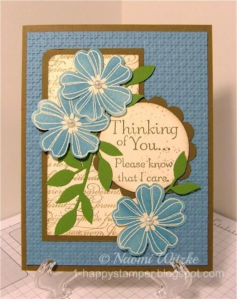 This card is a CASE of Leslie Mahon's beautiful card.  It uses a ton of supplies but I think it was worth it!  Details on my blog post here: http://1-happystamper.blogspot.com/2014/12/marina-floral-sympathy-card.html