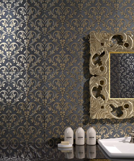 crystall damask decor ceramic tiles by fondovalle - Ceramic Tile Castle Decoration