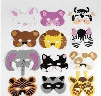 12 surtido de espuma máscaras de animales para
